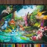 :3 ^_^ blondynkitezgraja blue_eyes blue_sky brown_eyes closed_eyes clouds cloudy_sky colored_pencil colored_pencil_(medium) commentary creature day eevee english_commentary espeon fish flareon gen_1_pokemon gen_2_pokemon gen_4_pokemon gen_6_pokemon gen_7_pokemon glaceon grass jolteon leafeon nature no_humans partially_submerged pencil photo pokemon pokemon_(creature) realistic rock sky sylveon traditional_media tree umbreon underwater vaporeon water wishiwashi yawning