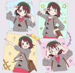 1girl :d ^_^ bag blush_stickers brown_eyes brown_hair cardigan closed_eyes closed_mouth green_headwear grey_background grey_cardigan hand_glasses hand_on_hip heart ixy long_sleeves looking_at_viewer multiple_views open_mouth pokemon pokemon_(game) pokemon_swsh pose short_hair simple_background smile star tam_o'_shanter v yuuri_(pokemon)