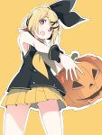 1girl black_hairband blonde_hair blush fang hair_ornament hairband halloween holding_pumpkin ixy jack-o'-lantern kagamine_rin looking_at_viewer open_mouth pleated_skirt pumpkin red_eyes short_hair simple_background skirt sleeveless solo standing vocaloid vocaloid_(sour-type_ver) x_hair_ornament yellow_background yellow_skirt