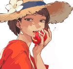 1girl akaneko_(redakanekocat) brown_hair earrings eating flower food fruit hat hat_flower highres holding holding_food holding_fruit jewelry looking_at_viewer open_mouth pixiv_fantasia pixiv_fantasia_last_saga pomegranate rudia_of_the_moon_smile short_hair solo straw_hat upper_body white_background