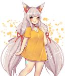 1girl animal_ears bare_legs breasts grin highres kamaniki long_hair looking_at_viewer medium_breasts niyah niyah_(blade) oversized_clothes shirt signature silver_hair smile solo t-shirt twintails twintails_day twitter_username very_long_hair xenoblade_(series) xenoblade_2 yellow_eyes yellow_shirt