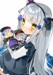 1girl apron bangs beret black_apron black_bow black_hairband black_headwear blunt_bangs blush bow character_doll checkered commentary_request dress eyebrows_visible_through_hair facial_mark frilled_apron frilled_pillow frills g11_(girls_frontline) girls_frontline green_eyes grey_hair hair_bow hair_ornament hairband hasegawa_(rarairairai) hat highres hk416_(girls_frontline) holding jacket long_hair long_sleeves mini_hat parted_lips pillow purple_headwear purple_jacket simple_background tilted_headwear very_long_hair white_background white_dress