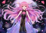 1girl :d absurdres ball_and_chain_restraint chain commentary_request dress eyebrows_visible_through_hair flower highres horns ibaraki_douji_(touhou) ibaraki_kasen long_hair looking_at_viewer open_mouth petals pink_hair red_eyes rose sleeveless smile solo suiton_(000suiton) tabard touhou