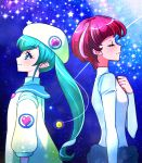 2girls antennae aqua_eyes aqua_hair astronaut back-to-back bangs beret blunt_bangs clenched_hand closed_eyes commentary_request eyebrows_visible_through_hair from_side hagoromo_lala hair_between_eyes hand_on_own_chest hat heart heart_print hoshina_hikaru jacket kagami_chihiro long_hair long_sleeves multicolored_hair multiple_girls older pink_hair pointy_ears precure sailor_collar shooting_star short_hair smile space spacesuit spoilers star star_(sky) star_twinkle_precure streaked_hair twintails upper_body yellow_jacket