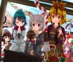 6+girls :d ^_^ alternate_costume anchor_symbol animal_ear_fluff animal_ears ascot bangs bare_shoulders barefoot basket beanie bell black_dress black_hair blonde_hair blue_headwear blue_skirt blue_sky blue_vest blush bow bowtie brown_eyes closed_eyes clouds commentary_request day detached_sleeves dress frilled_bow frills fur_trim glint gradient_hair green_eyes grey_hair hair_between_eyes hair_bow hair_ornament hakurei_reimu hands_up haori hat highres hijiri_byakuren holding holding_umbrella houjuu_nue japanese_clothes jingle_bell kimono kumoi_ichirin long_hair long_sleeves looking_at_another looking_at_viewer mouse mouse_ears multicolored_hair multiple_girls murasa_minamitsu nazrin neckerchief obi one_eye_closed open_mouth orange_eyes outdoors own_hands_together palms_together pink_eyes purple_hair purple_kimono purple_scarf purple_umbrella red_bow red_neckwear ribbon-trimmed_sleeves ribbon_trim ruu_(tksymkw) sailor_collar sailor_shirt sash scarf shirt short_hair shorts skirt sky smile streaked_hair sweat tail tail_hold tatara_kogasa tears toramaru_shou touhou umbrella unzan vest violet_eyes white_shirt white_shorts wide_sleeves yellow_neckwear