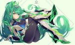 1girl grandialee green_eyes green_hair highres long_hair pneuma_(xenoblade_2) solo tail xenoblade_(series) xenoblade_2