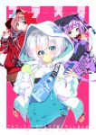 3girls alternate_costume bangs blue_eyes blue_hair brown_hair brown_legwear bubble_blowing bubble_tea casual cellphone chewing_gum columbine_(flower_knight_girl) commentary_request cover cover_page cup disposable_cup drinking_straw eyebrows_visible_through_hair fanny_pack flower_knight_girl fujishima-sei_ichi-gou grey_eyes hatsuyukisou_(flower_knight_girl) highres holding holding_cellphone holding_cup holding_phone hood hood_up hoodie jacket long_hair long_sleeves multicolored_hair multiple_girls nire_(flower_knight_girl) open_clothes open_jacket pantyhose phone pink_background puffy_long_sleeves puffy_sleeves purple_hair purple_jacket red_hoodie short_eyebrows silver_hair sleeves_past_wrists streaked_hair thick_eyebrows two-tone_background very_long_hair violet_eyes white_background white_hoodie white_jacket