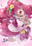 1girl absurdres closed_mouth cure_grace flower from_above gloves hair_flower hair_ornament hanadera_nodoka healin'_good_precure highres holding holding_wand long_hair looking_at_viewer magical_girl pink_background pink_eyes pink_hair precure shipu_(gassyumaron) smile solo wand white_gloves