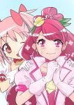 2girls absurdres cure_grace hanadera_nodoka healin'_good_precure highres itagakihajime kaname_madoka mahou_shoujo_madoka_magica multiple_girls pink_clothes pink_eyes pink_hair ponytail precure seiyuu_connection tears trait_connection twintails yuuki_aoi