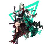1girl black_footwear black_gloves blush boots closed_mouth earrings eyebrows_visible_through_hair fingerless_gloves full_body girls_frontline gloves green_eyes grey_hair gun high_heel_boots high_heels holding holding_gun holding_microphone holding_weapon infukun jewelry js05_(girls_frontline) knee_boots looking_at_viewer microphone official_art short_hair smile solo transparent_background weapon