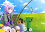 2girls animal_ears boots bottle cat_ears cat_tail clouds collar commentary_request creeper dog_ears fish fishing fishing_rod flower green_eyes hololive hood hooded_jacket inugami_korone jacket looking_at_viewer medium_hair minecraft multiple_girls nekomata_okayu pig short_hair sitting sky stairs sword tail virtual_youtuber weapon
