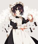 1girl apron black_hair blush bonnet brown_eyes chess_piece cowboy_shot cup dice floral_background holding_pot holding_saucer maid maid_apron mamyouda original short_hair signature smile solo teacup teapot white_apron white_background white_headwear