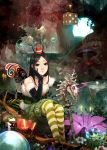 1girl absurdres alice:_madness_returns alice_(wonderland) american_mcgee's_alice black_hair chiizu_namasu closed_mouth commentary_request dice dress highres long_hair looking_at_viewer mushroom smile solo statue striped striped_legwear water