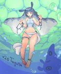 1girl antennae barefoot bikini blue_eyes blue_hair bracelet bubble jewelry mantine midriff nail_polish navel open_mouth personification pokemon setomo solo swimsuit underwater veil