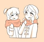 2girls alternate_costume blush cailin_(poptrt) couple diana_cavendish gloves happy jacket kagari_atsuko little_witch_academia long_hair looking_at_another mittens monochrome multiple_girls open_mouth scarf simple_background smile wavy_hair yuri