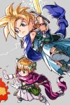 1boy 1girl blonde_hair blue_eyes bow brother_and_sister cape closed_mouth dragon_quest dragon_quest_v hair_bow hankuri hero's_daughter_(dq5) hero's_son_(dq5) short_hair siblings simple_background sword twins weapon