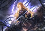 1girl black_dress blonde_hair blurry_foreground closed_eyes closed_mouth cowboy_shot curly_hair dress floating_hair hair_between_eyes holding holding_sword holding_weapon interitio layered_dress long_hair long_sleeves original soles standing sword thorns very_long_hair weapon