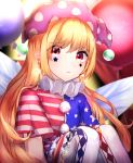 1girl american_flag american_flag_dress blonde_hair blurry blurry_background closed_mouth clownpiece crescent crescent_earrings crescent_moon crying crying_with_eyes_open dots earrings eyebrows eyebrows_visible_through_hair fairy_wings glowing hat headwear highres jester_cap jewelry long_hair moon mozuno_(mozya_7) open_eyes red_eyes sad shirt short_sleeves sitting skirt solo tears touhou wings
