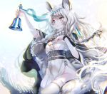 1girl animal_ear_fluff animal_ears arknights bangs bead_necklace beads bell belt black_belt black_cape braid breasts cape dress grey_eyes grey_hair headpiece highres holding holding_bell jewelry leopard_ears leopard_girl leopard_tail long_hair multicolored_hair necklace parted_lips pelvic_curtain pottsness pramanix_(arknights) side_braids silver_hair small_breasts solo tail thigh-highs turtleneck turtleneck_dress twin_braids two-tone_hair