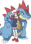 1girl bag brown_eyes brown_hair claws creature feraligatr flat_chest full_body gen_2_pokemon hat hat_ribbon holding holding_poke_ball kosumo_(kosuhoshi) kotone_(pokemon) overalls poke_ball poke_ball_(generic) pokegear pokemon pokemon_(creature) pokemon_(game) pokemon_hgss ribbon shoes simple_background smile standing thigh-highs twintails white_background white_headwear white_legwear