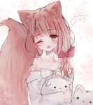 1girl ;d absurdres animal animal_ear_fluff animal_ears animal_hug bangs blush bow brown_eyes brown_hair cat collarbone dress eyebrows_visible_through_hair floral_background fox_ears fox_girl fox_tail hair_bow head_tilt highres long_hair long_sleeves looking_at_viewer low_twintails off-shoulder_dress off_shoulder one_eye_closed open_mouth original red_bow short_twintails smile solo tail tail_raised tandohark twintails white_bow white_dress