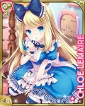 1girl alice_(wonderland) alice_(wonderland)_(cosplay) alice_in_wonderland apron between_legs blonde_hair blue_dress blue_eyes bow breasts character_name checkered checkered_floor chloe_lemaire cosplay door dress girlfriend_(kari) hair_bow hand_between_legs hand_to_own_mouth long_hair official_art open_mouth qp:flapper ribbon sitting solo striped striped_legwear table thigh-highs waist_apron white_apron wrist_cuffs