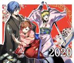 1boy aegis_(persona) blue_eyes blue_hair breasts brown_hair closed_mouth female_protagonist_(persona_3) hair_ornament hairclip highres japanese_clothes kimono looking_at_viewer multiple_girls nakano_maru persona persona_3 persona_3_portable red_eyes short_hair smile yuuki_makoto