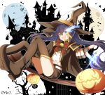 1girl :d absurdres bangs bell belt black_rock_shooter black_rock_shooter_(character) blue_eyes blue_hair boots bow bowtie brown_cape brown_footwear brown_gloves brown_headwear brown_shorts cape eyebrows_visible_through_hair fingerless_gloves floating_hair full_body gloves groin hair_between_eyes halloween halloween_costume hat highres long_hair looking_at_viewer midriff open_mouth oywj pumpkin red_bow red_neckwear shiny shiny_hair short_shorts shorts smile solo sparkle star star-shaped_pupils stomach symbol-shaped_pupils thigh-highs thigh_boots thumbs_up very_long_hair white_belt witch witch_hat zettai_ryouiki
