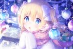 1girl bauble blonde_hair blue_eyes bow box emori_el emori_miku_project gift gift_box hair_bow hands_up highres kon_hoshiro long_hair one_side_up open_mouth plaid plaid_scarf scarf snowing solo sparkle upper_body white_bow white_coat winter winter_clothes