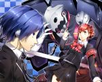 1boy 1girl blue_eyes blue_hair breasts brown_hair closed_mouth female_protagonist_(persona_3) gun hair_ornament hairclip handgun headphones highres nakano_maru persona persona_3 persona_3_portable red_eyes school_uniform short_hair skirt thanatos weapon yuuki_makoto