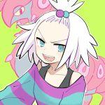 1girl blue_eyes dress forehead freckles gen_5_pokemon hair_bobbles hair_ornament homika_(pokemon) k_73soon looking_at_viewer pokemon pokemon_(creature) pokemon_(game) pokemon_bw2 scolipede shoulder_blades smile striped striped_dress twitter_username white_hair yellow_background