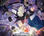1boy :o bacopa bad_perspective black_gloves book_stack chair copyright_name cup gem gloves green_eyes indoors long_sleeves pig pixiv_fantasia_age_of_starlight purple_hair quill scroll sitting solo teacup teapot tile_floor tiles window