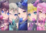 5girls :3 ;3 ahoge ascot asymmetrical_hair bangs bare_shoulders black_bow black_gloves black_hair black_ribbon blonde_hair blue_eyes blue_flower blue_gloves blue_jacket blue_neckwear blue_ribbon blue_rose bow brown_hair choker close-up commentary_request covering_mouth crescent crescent_earrings crescent_moon_pin detached_collar diamond_earrings earrings eyebrows_visible_through_hair eyelashes feathers flower frilled_choker frills gloves green_eyes green_flower green_gloves green_neckwear green_rose green_vest grey_hair group_name hair_between_eyes hair_bow hair_feathers hair_flower hair_intakes hair_ornament hair_ribbon hayami_kanade holding holding_flower ichinose_shiki idol idolmaster idolmaster_cinderella_girls jacket jewelry jougasaki_mika kazura_enji lipps_(idolmaster) long_hair looking_at_viewer miyamoto_frederica multiple_girls necktie one_eye_closed open_mouth parted_bangs pink_choker pink_hair pink_jacket pink_neckwear pink_tulip profile purple_vest ribbon rose shiomi_shuuko short_hair sidelocks signature smile tulip tulip_(idolmaster) two_side_up vest wavy_hair yellow_eyes