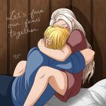 1boy 1girl artist_name bed blonde_hair blush closed_eyes couple deviantart_username dimitri_alexandre_blaiddyd edelgard_von_hresvelg english_commentary facing_another fire_emblem fire_emblem:_fuukasetsugetsu fire_emblem:_three_houses fire_emblem_16 hug hugging intelligent_systems long_hair love mikia87 nintendo pajamas pillow pixiv_username sad short_hair white_hair