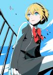 1girl aegis_(persona) android blonde_hair blue_eyes breasts closed_mouth commentary_request highres nambu_01 persona persona_3 school_uniform short_hair smile solo