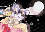 1girl bare_shoulders blonde_hair blue_eyes breasts brothers cape closed_mouth commentary_request detached_sleeves dissidia_final_fantasy dress earrings elbow_gloves final_fantasy final_fantasy_vi gloves jewelry kuja long_hair looking_at_viewer multiple_boys ponytail ribbon siblings smile tina_branford zidane_tribal