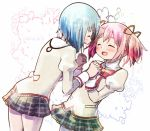 2girls :d ^_^ bare_legs black_skirt blue_hair blurry blush bubble_background closed_eyes cowboy_shot depth_of_field dot_nose english_text flat_chest furrowed_eyebrows happy holding_hands interlocked_fingers juliet_sleeves kaname_madoka kirikuchi_riku long_sleeves mahou_shoujo_madoka_magica miki_sayaka mitakihara_school_uniform multiple_girls neck_ribbon open_mouth pink_hair plaid plaid_skirt pleated_skirt profile puffy_sleeves red_ribbon ribbon school_uniform shiny shiny_hair short_hair short_twintails simple_background skirt smile twintails uniform white_background
