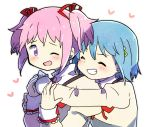 2girls ;d arms_around_neck blue_hair blush clenched_teeth close-up closed_eyes closed_mouth dot_nose furrowed_eyebrows grin hair_ornament hairclip hand_on_another's_arm heart heart_background hug hug_from_behind juliet_sleeves kaname_madoka kirikuchi_riku long_sleeves looking_at_another looking_back mahou_shoujo_madoka_magica miki_sayaka mitakihara_school_uniform multiple_girls neck_ribbon one_eye_closed open_mouth pink_hair puffy_sleeves red_ribbon ribbon school_uniform short_hair short_twintails simple_background smile teeth twintails uniform upper_body v-shaped_eyebrows white_background