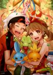 1boy 1girl :d ^_^ bangs beanie bird black_eyes blush brown_eyes brown_hair closed_eyes commentary_request confetti creature dated facing_viewer gen_3_pokemon hair_ribbon happy haruka_(pokemon) hat holding holding_pokemon kisaragi_itsuka_(aufheben) looking_at_viewer medium_hair mudkip open_mouth party pokemon pokemon_(creature) pokemon_(game) pokemon_oras red_ribbon red_shirt ribbon shirt short_sleeves signature sleeveless sleeveless_shirt smile torchic treecko wailmer white_headwear yuuki_(pokemon)
