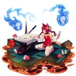 1girl alternate_costume animal_ears artist_name aura bangs bare_shoulders bow braid cat_ears commentary dress english_commentary hair_bow highres holding kaenbyou_rin long_hair mouse nail_polish open_mouth paw_print red_dress red_eyes red_nails redhead seiza short_dress short_sleeves signature sitting skirt skull solo thigh-highs thighs touhou wheelbarrow white_legwear white_skirt yellow_bow yoruny zettai_ryouiki