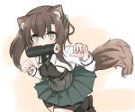 1girl alternate_breast_size animal_ears bangs bike_shorts black_legwear black_skirt blush breasts brown_eyes brown_hair claw_pose dog_ears dog_tail ehoumaki food food_in_mouth hair_between_eyes headband headgear japanese_clothes kantai_collection kasashi_(kasasi008) long_sleeves makizushi medium_breasts mouth_hold short_hair shorts shorts_under_skirt skirt solo sushi taihou_(kantai_collection) tail