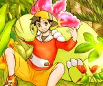 1boy :d black_eyes black_hair commentary_request creature gen_2_pokemon gold_(pokemon) grin kosumo_(kosuhoshi) looking_at_viewer male_focus meganium open_mouth plant pokemon pokemon_(creature) pokemon_(game) pokemon_gsc shoes shorts sitting smile