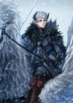 1boy black_horns blue_eyes boots brown_footwear fur_trim gloves highres horns horseback_riding leon_the_southern_conquest_general maia86_(rs0273) male_focus outdoors pixiv_fantasia pixiv_fantasia_last_saga reins riding snowing solo