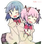 2girls ;d ^_^ black_skirt blue_eyes blue_hair blush closed_eyes dot_nose floating_hair hair_between_eyes hands_on_another's_chest hands_on_own_chest highres hug hug_from_behind juliet_sleeves kaname_madoka kirikuchi_riku long_sleeves looking_at_another mahou_shoujo_madoka_magica miki_sayaka mitakihara_school_uniform multiple_girls neck_ribbon one_eye_closed open_mouth pink_hair plaid plaid_skirt pleated_skirt puffy_sleeves red_ribbon ribbon school_uniform short_hair short_twintails simple_background skirt smile translation_request twintails uniform upper_body v-shaped_eyebrows white_background