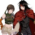 1girl bare_shoulders black_hair breasts brown_eyes brown_hair closed_mouth final_fantasy final_fantasy_vii fingerless_gloves gloves headband highres looking_at_viewer midriff navel open_fly short_hair shorts simple_background sleeveless sleeveless_turtleneck smile turtleneck vincent_valentine white_background yawai_tofu yuffie_kisaragi
