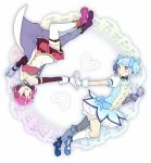 2girls :d alternate_color belt blue_eyes blue_footwear blue_hair blue_neckwear blue_ribbon blush boots breasts bubble_skirt choker collarbone color_switch dot_nose fortissimo fortissimo_hair_ornament full_body gloves hair_ornament hair_ribbon hairclip hands_together happy heart heart_background kaname_madoka kirikuchi_riku looking_at_another mahou_shoujo_madoka_magica medium_breasts miki_sayaka multiple_girls open_mouth outstretched_arm pink_footwear pink_hair puffy_short_sleeves puffy_sleeves red_skirt ribbon short_hair short_sleeves short_twintails simple_background skirt smile socks soul_gem strapless thigh-highs twintails upside-down white_background white_gloves white_legwear white_skirt