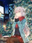 1girl anastasia_(fate/grand_order) bangs black_legwear black_sweater blue_eyes blue_jacket blurry blurry_background building christmas christmas_tree commentary eyebrows_visible_through_hair fate/grand_order fate_(series) green_eyes hairband highres jacket kyaroru light long_hair long_sleeves outdoors pantyhose red_scarf red_skirt revision scarf silver_hair sitting skirt solo sweater very_long_hair