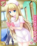 1girl bed blonde_hair blue_eyes character_name chloe_lemaire dress girlfriend_(kari) hat hospital hospital_bed indoors leaning_forward long_hair notebook nurse nurse_cap official_art open_mouth pantyhose pen pink_dress pink_headwear qp:flapper short_dress short_sleeves solo white_legwear window writing