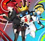 aegis_(persona) android black_jacket black_legwear blonde_hair blue_eyes breasts dress highres jacket long_hair looking_at_viewer morgana_(persona_5) multiple_girls nakano_maru persona persona_3 persona_3:_dancing_moon_night persona_5 persona_5:_dancing_star_night persona_5_the_royal persona_dancing ponytail red_eyes redhead short_hair skirt smile yoshizawa_kasumi