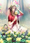 1girl aerith_gainsborough bow braid breasts brown_hair commentary_request cropped_jacket dress final_fantasy final_fantasy_vii final_fantasy_vii_remake flower green_eyes hair_ribbon highres long_dress long_hair looking_at_viewer pink_bow pink_dress ribbon solo tdsuke